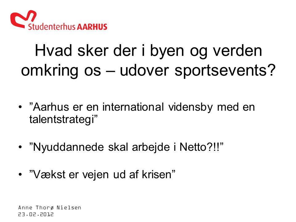 Anne Thorø Nielsen 23.02.2012 Hvad sker der i byen og verden omkring os – udover sportsevents.