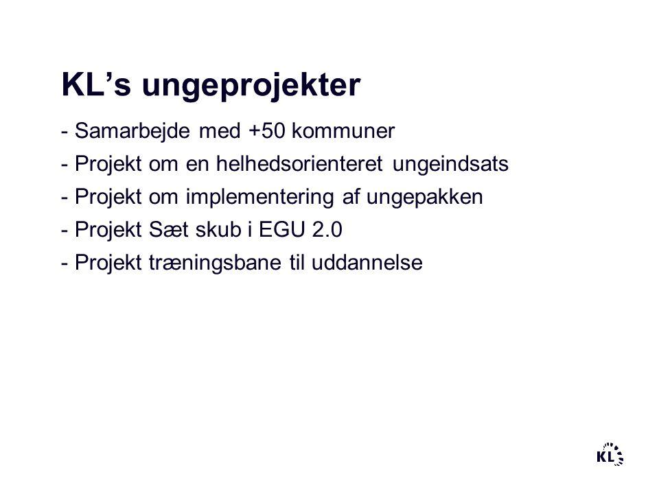 KL's ungeprojekter - Samarbejde med +50 kommuner - Projekt om en helhedsorienteret ungeindsats - Projekt om implementering af ungepakken - Projekt Sæt skub i EGU 2.0 - Projekt træningsbane til uddannelse