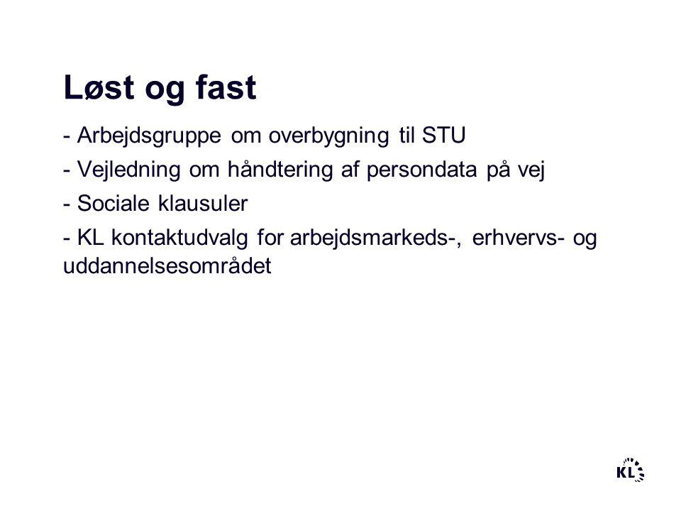 Løst og fast - Arbejdsgruppe om overbygning til STU - Vejledning om håndtering af persondata på vej - Sociale klausuler - KL kontaktudvalg for arbejdsmarkeds-, erhvervs- og uddannelsesområdet