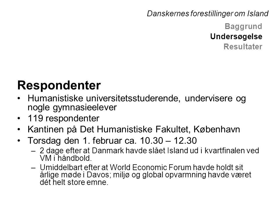 Respondenter •Humanistiske universitetsstuderende, undervisere og nogle gymnasieelever •119 respondenter •Kantinen på Det Humanistiske Fakultet, København •Torsdag den 1.