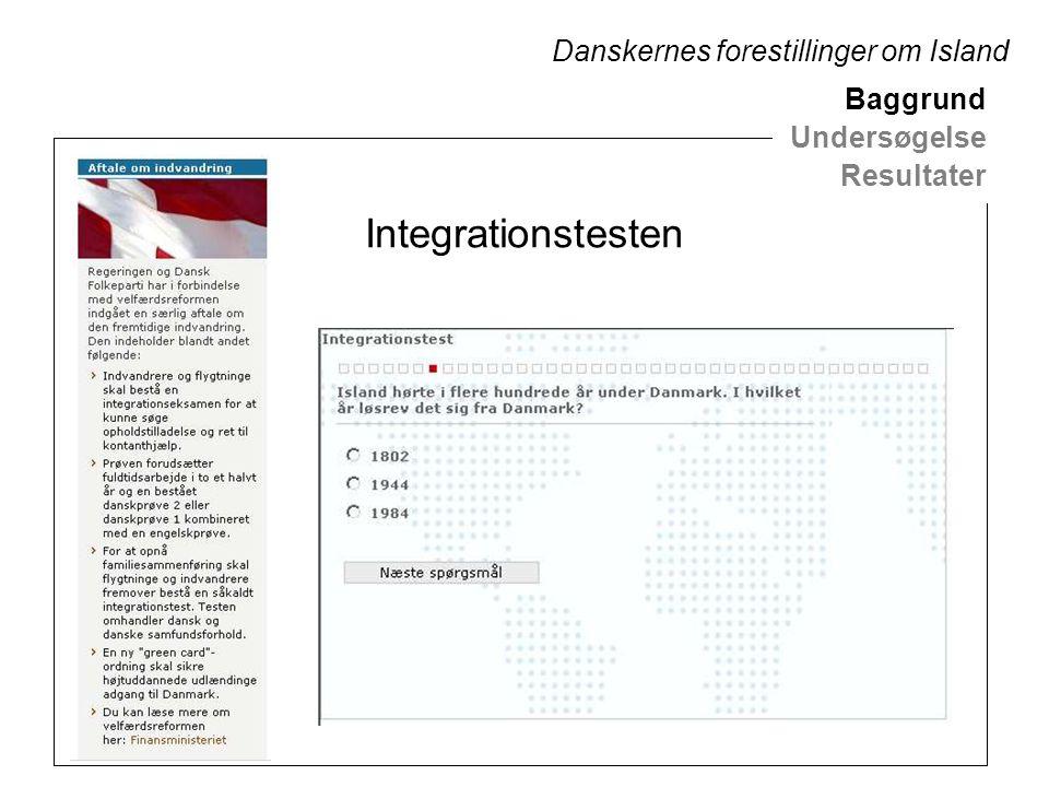 Integrationstesten Baggrund Undersøgelse Resultater Danskernes forestillinger om Island