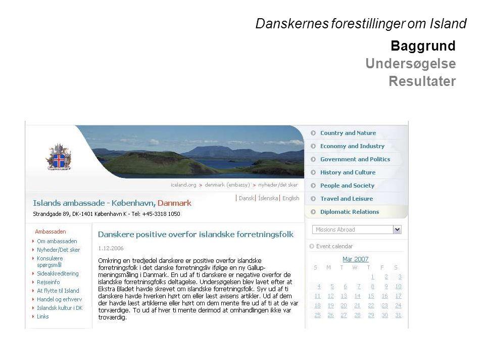 Danskernes forestillinger om Island Baggrund Undersøgelse Resultater