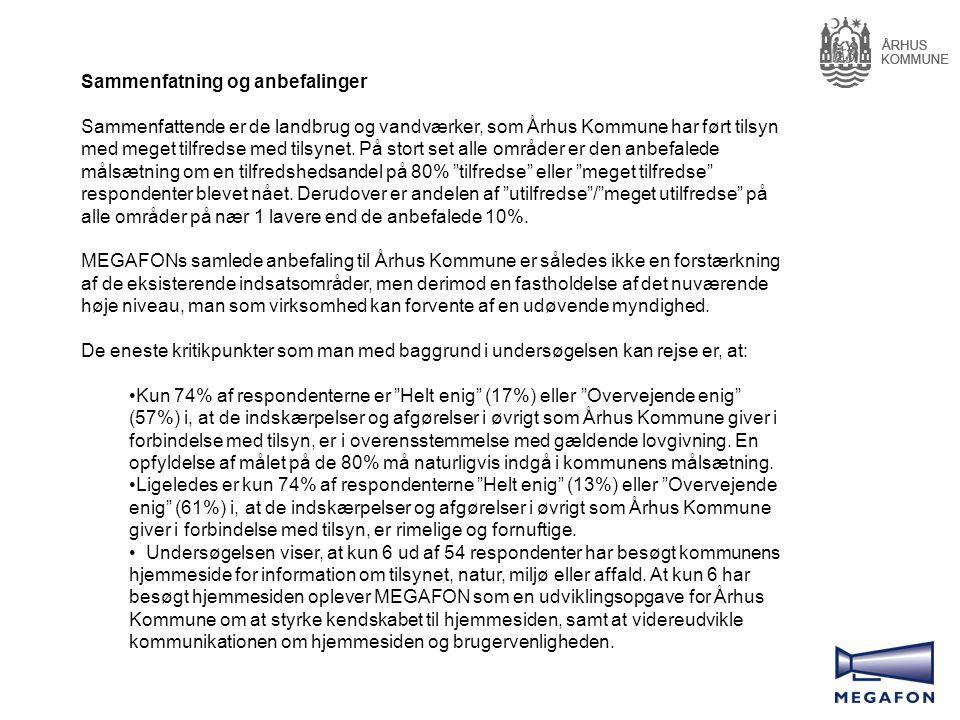 Sammenfatning og anbefalinger Sammenfattende er de landbrug og vandværker, som Århus Kommune har ført tilsyn med meget tilfredse med tilsynet.