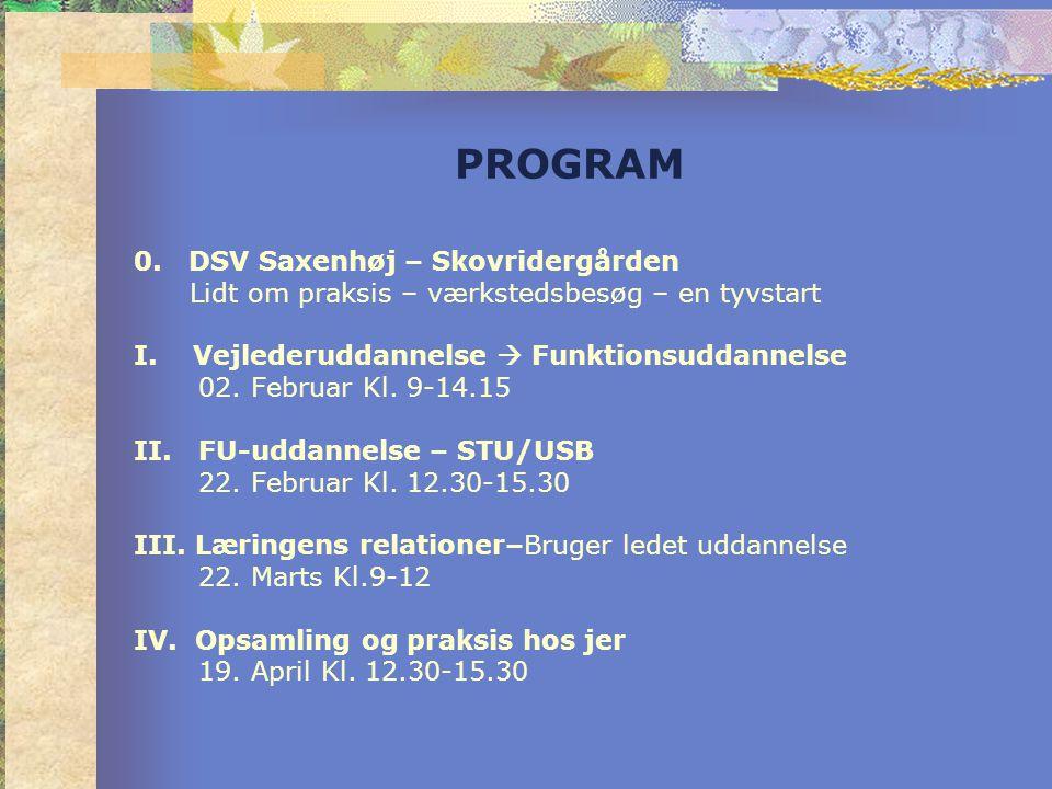 PROGRAM 0. DSV Saxenhøj – Skovridergården Lidt om praksis – værkstedsbesøg – en tyvstart I.