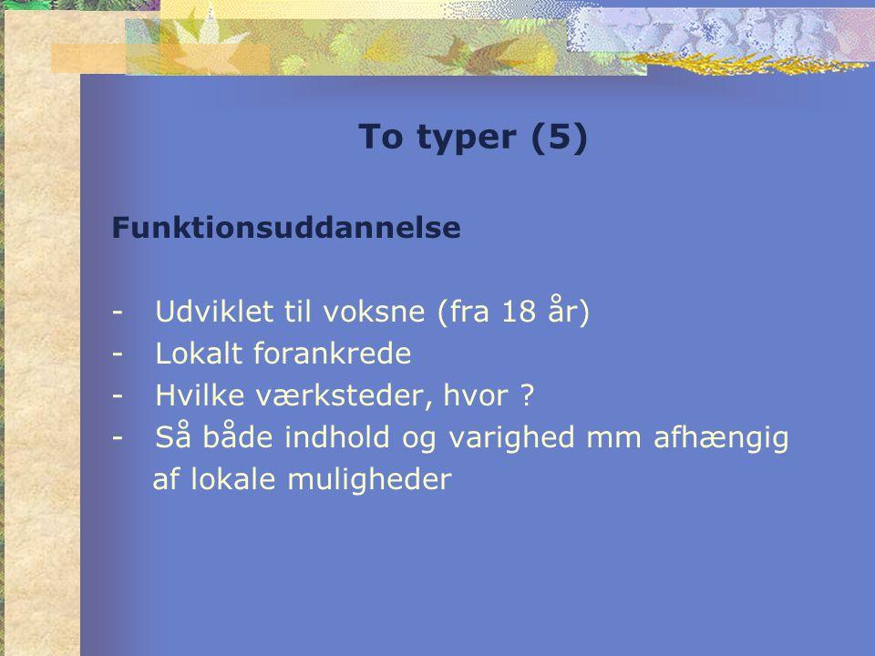 To typer (5) Funktionsuddannelse -Udviklet til voksne (fra 18 år) -Lokalt forankrede -Hvilke værksteder, hvor .