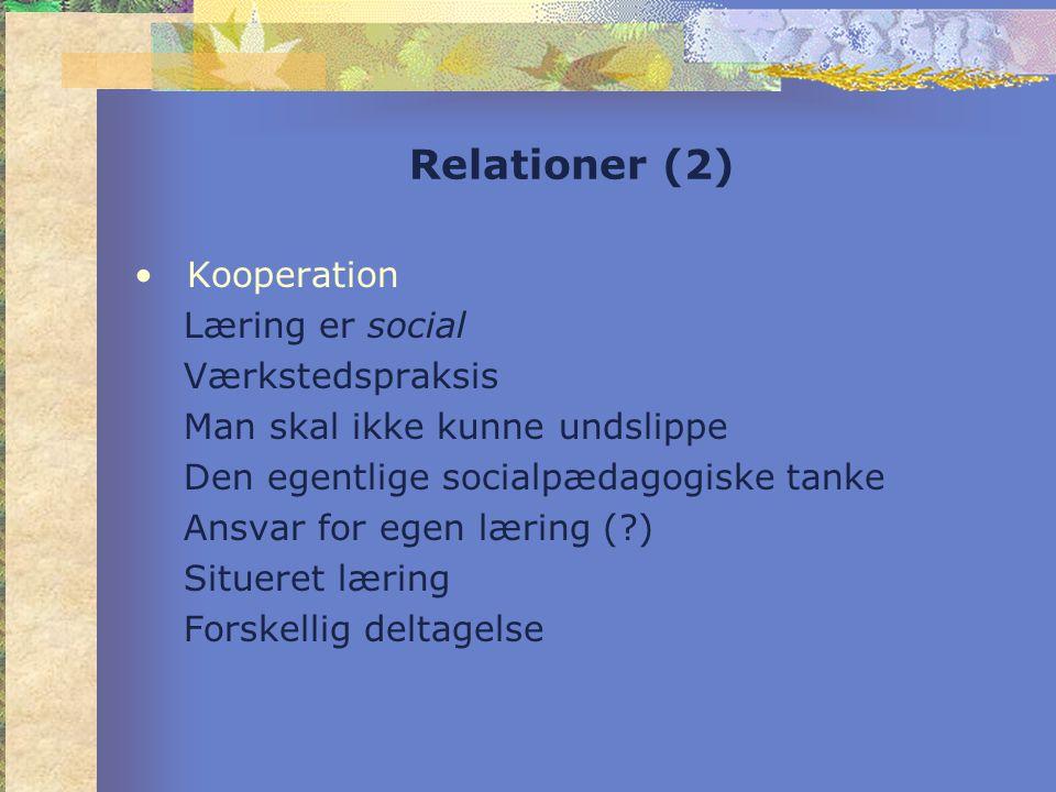 Relationer (2) •Kooperation Læring er social Værkstedspraksis Man skal ikke kunne undslippe Den egentlige socialpædagogiske tanke Ansvar for egen læring ( ) Situeret læring Forskellig deltagelse