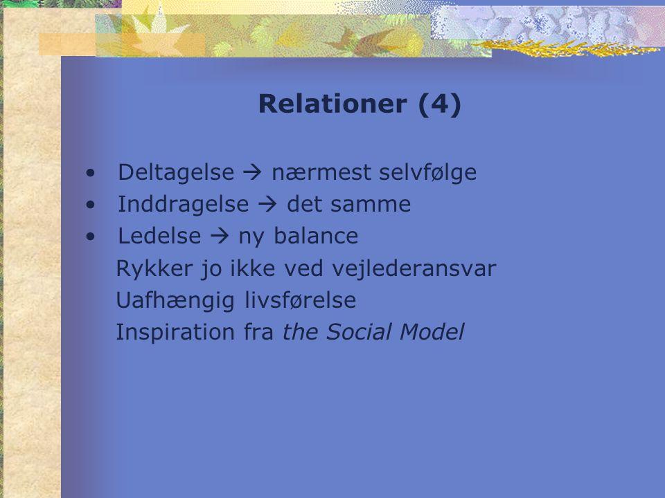 Relationer (4) •Deltagelse  nærmest selvfølge •Inddragelse  det samme •Ledelse  ny balance Rykker jo ikke ved vejlederansvar Uafhængig livsførelse Inspiration fra the Social Model