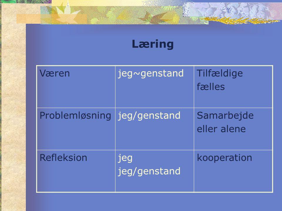 Læring Værenjeg~genstandTilfældige fælles Problemløsningjeg/genstandSamarbejde eller alene Refleksionjeg jeg/genstand kooperation