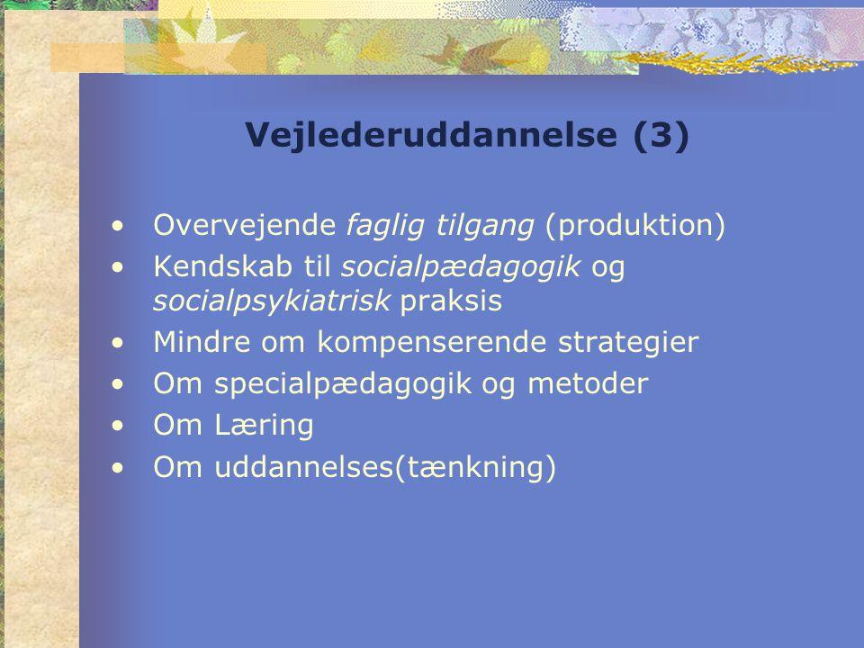 Vejlederuddannelse (3) •Overvejende faglig tilgang (produktion) •Kendskab til socialpædagogik og socialpsykiatrisk praksis •Mindre om kompenserende strategier •Om specialpædagogik og metoder •Om Læring •Om uddannelses(tænkning)