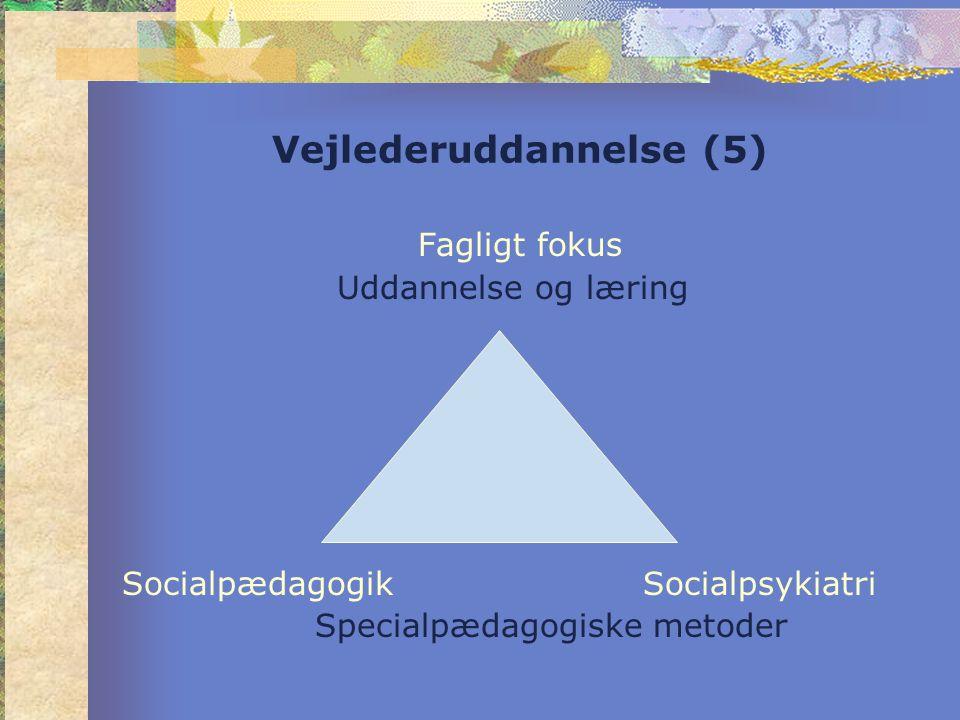Vejlederuddannelse (5) Fagligt fokus Uddannelse og læring Socialpædagogik Socialpsykiatri Specialpædagogiske metoder