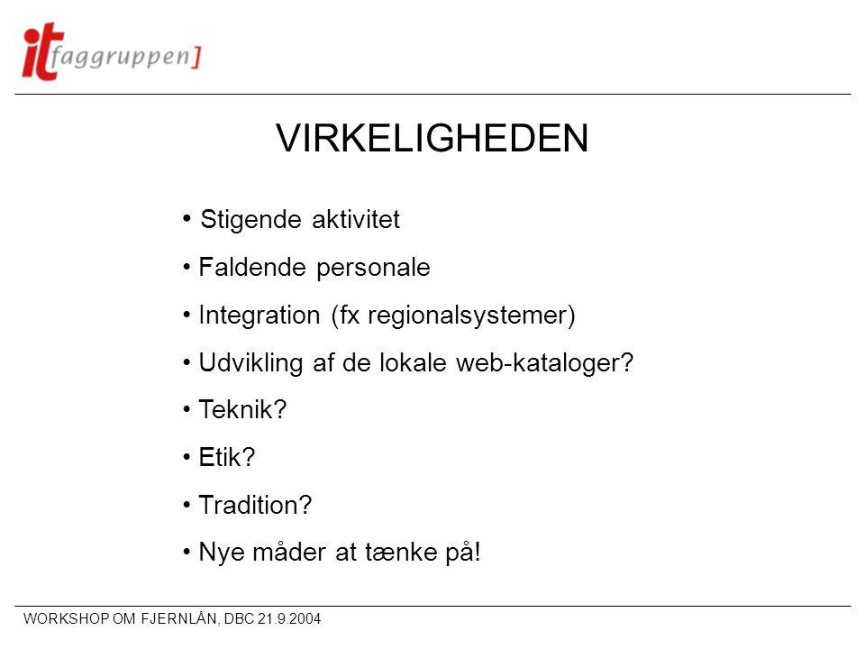 WORKSHOP OM FJERNLÅN, DBC 21.9.2004 VIRKELIGHEDEN • Stigende aktivitet • Faldende personale • Integration (fx regionalsystemer) • Udvikling af de lokale web-kataloger.