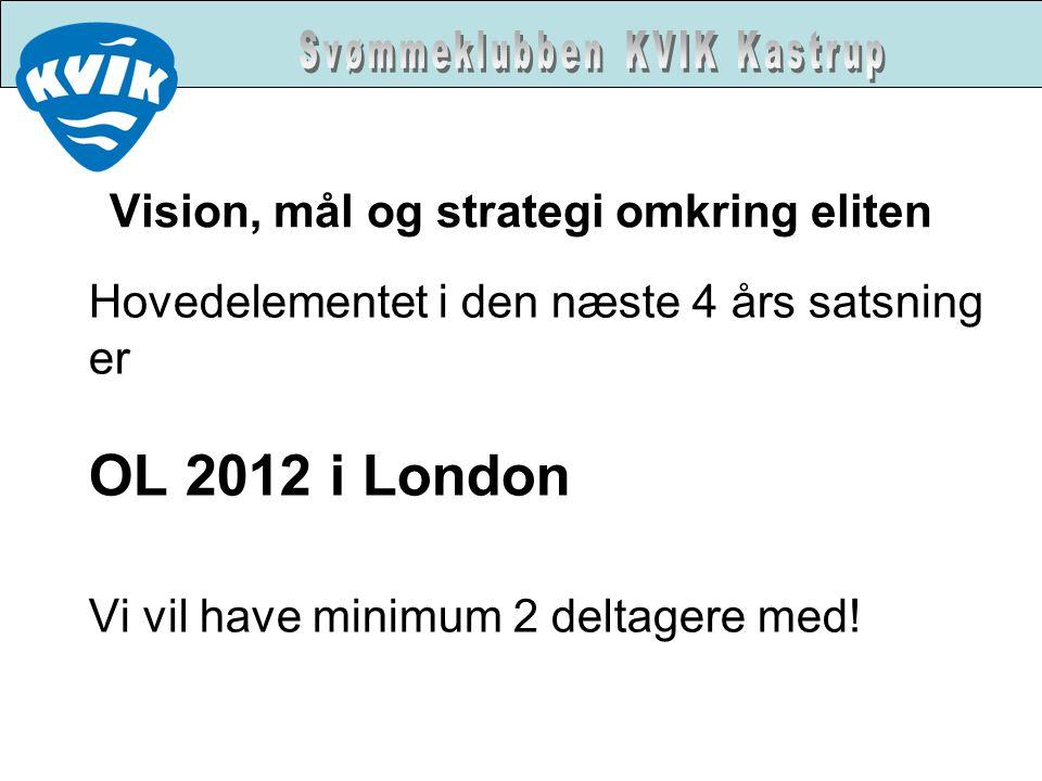 Vision, mål og strategi omkring eliten Hovedelementet i den næste 4 års satsning er OL 2012 i London Vi vil have minimum 2 deltagere med!