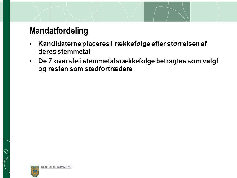 Stemmeoptælling •Foretages af valgbestyrelsen •Sker umiddelbart efter fristens udløb (12.5.