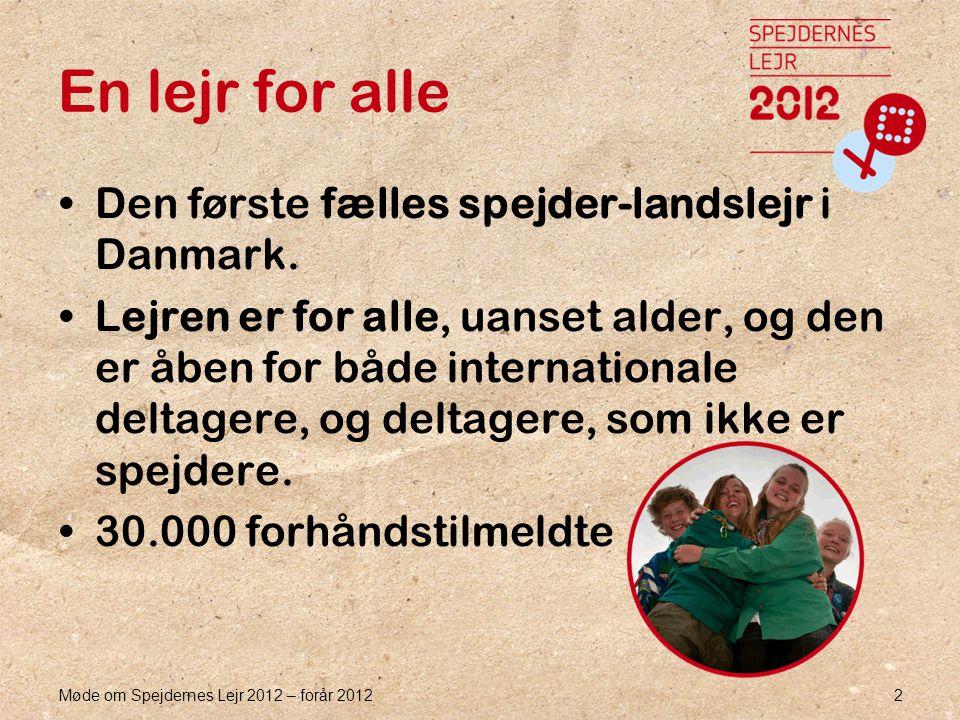 Møde om Spejdernes Lejr 2012 – forår 2012 2 En lejr for alle •Den første fælles spejder-landslejr i Danmark.