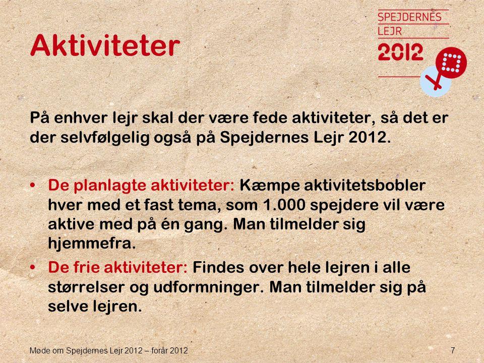 Møde om Spejdernes Lejr 2012 – forår 2012 7 Aktiviteter På enhver lejr skal der være fede aktiviteter, så det er der selvfølgelig også på Spejdernes Lejr 2012.