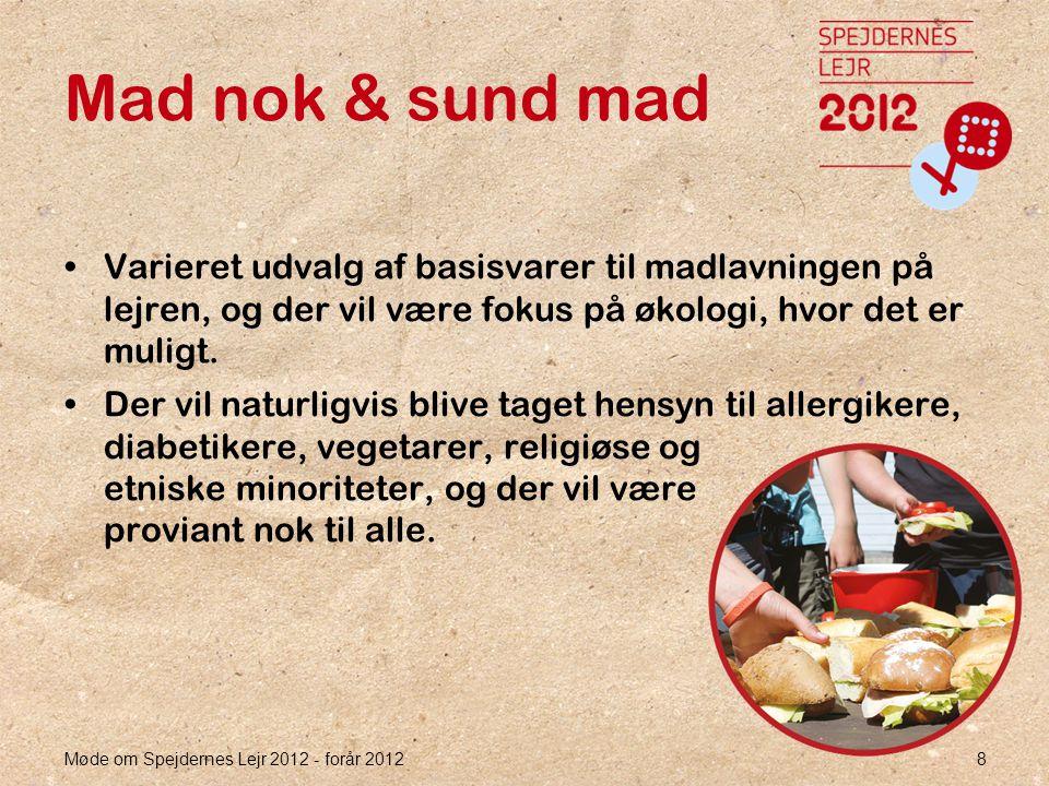 Møde om Spejdernes Lejr 2012 - forår 2012 8 Mad nok & sund mad •Varieret udvalg af basisvarer til madlavningen på lejren, og der vil være fokus på økologi, hvor det er muligt.