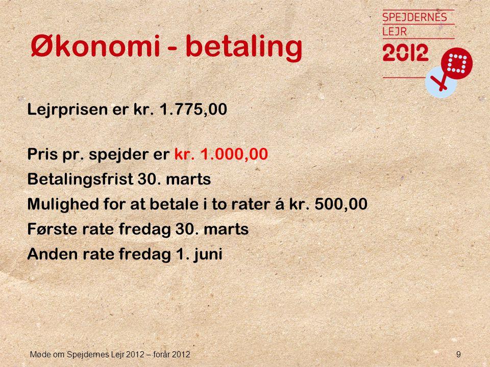 Møde om Spejdernes Lejr 2012 – forår 2012 9 Økonomi - betaling Lejrprisen er kr.