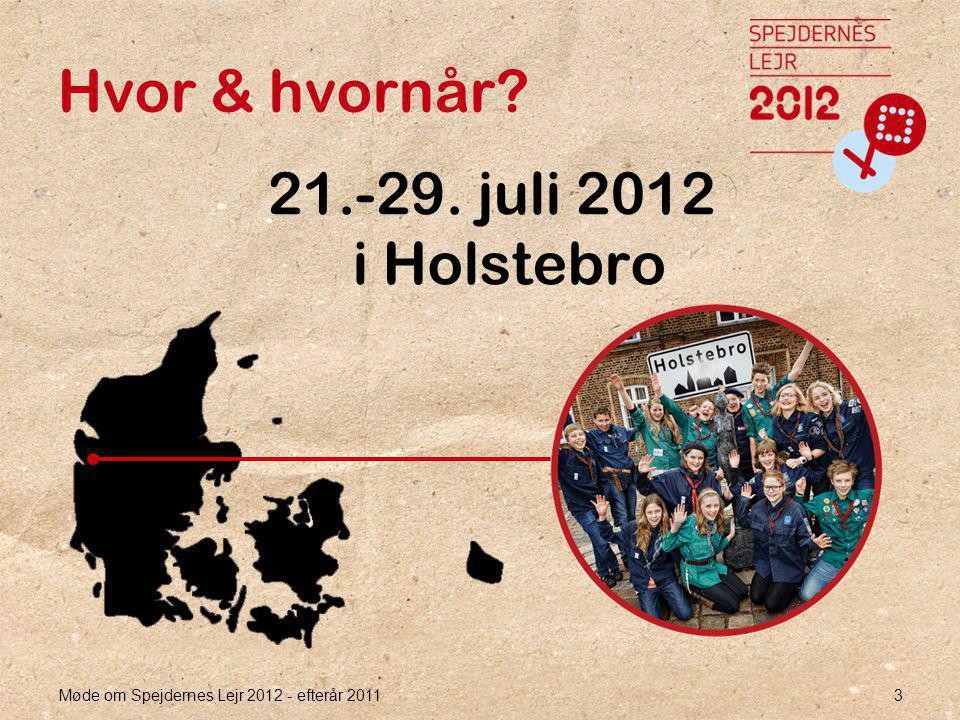 Møde om Spejdernes Lejr 2012 - efterår 2011 3 Hvor & hvornår 21.-29. juli 2012 i Holstebro