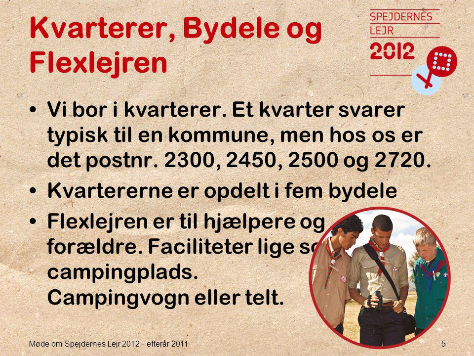 Møde om Spejdernes Lejr 2012 - efterår 2011 5 Kvarterer, Bydele og Flexlejren •Vi bor i kvarterer.