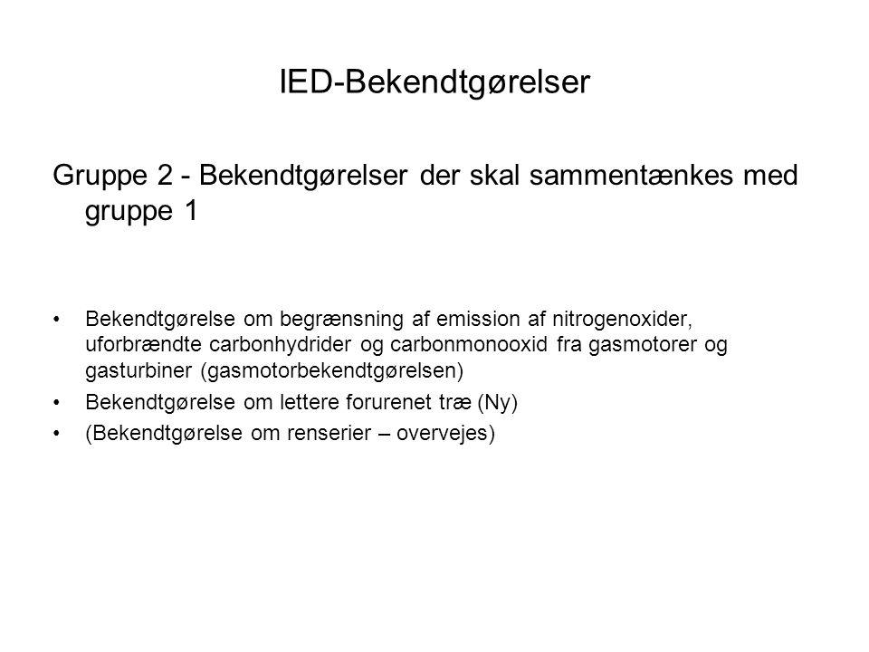 IED-Bekendtgørelser Gruppe 2 - Bekendtgørelser der skal sammentænkes med gruppe 1 •Bekendtgørelse om begrænsning af emission af nitrogenoxider, uforbrændte carbonhydrider og carbonmonooxid fra gasmotorer og gasturbiner (gasmotorbekendtgørelsen) •Bekendtgørelse om lettere forurenet træ (Ny) •(Bekendtgørelse om renserier – overvejes)