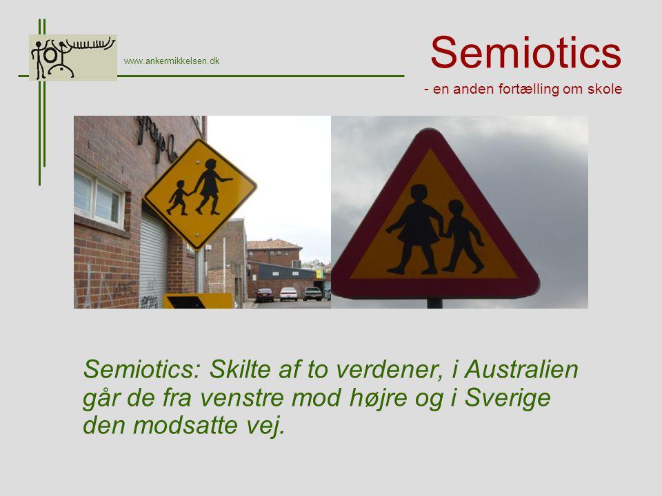 Semiotics - en anden fortælling om skole Semiotics: Skilte af to verdener, i Australien går de fra venstre mod højre og i Sverige den modsatte vej.