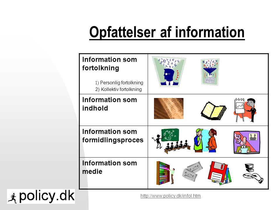 Opfattelser af information Information som fortolkning 1) Personlig fortolkning 2) Kollektiv fortolkning Information som indhold Information som formidlingsproces Information som medie http://www.policy.dk/infol.htm