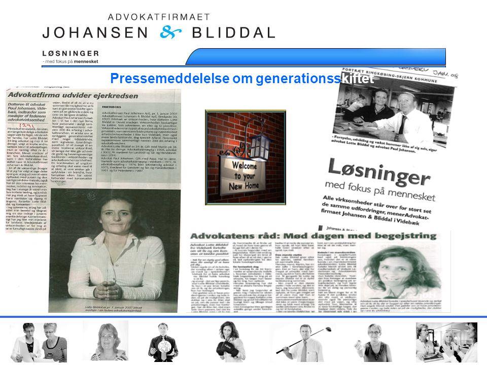 Pressemeddelelse om generationsskiftet