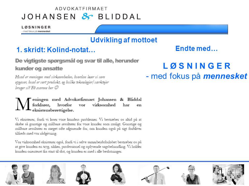 Udvikling af mottoet 1. skridt: Kolind-notat… Endte med… L Ø S N I N G E R - med fokus på mennesket