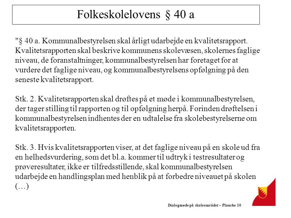 Dialogmøde på skoleområdet – Planche 10 Folkeskolelovens § 40 a § 40 a.