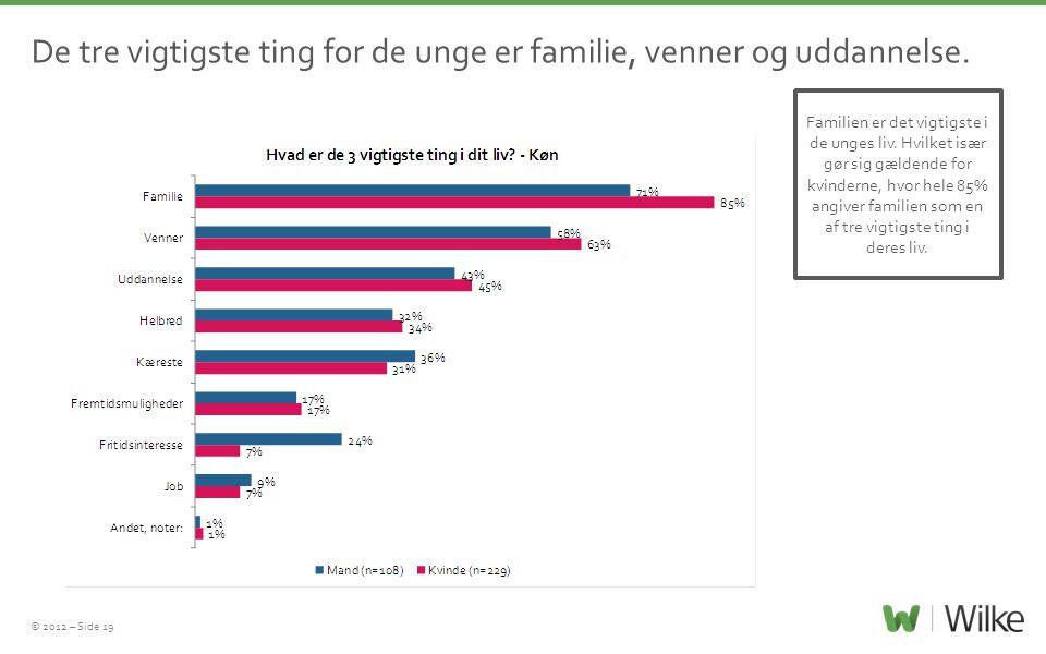 © 2012 – Side 19 De tre vigtigste ting for de unge er familie, venner og uddannelse.