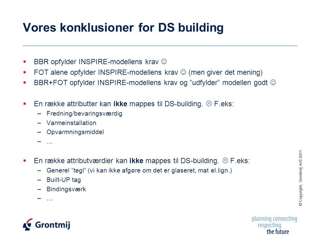 © Copyright, Grontmij A/S 2011 Vores konklusioner for DS building  BBR opfylder INSPIRE-modellens krav   FOT alene opfylder INSPIRE-modellens krav  (men giver det mening)  BBR+FOT opfylder INSPIRE-modellens krav og udfylder modellen godt   En række attributter kan ikke mappes til DS-building.
