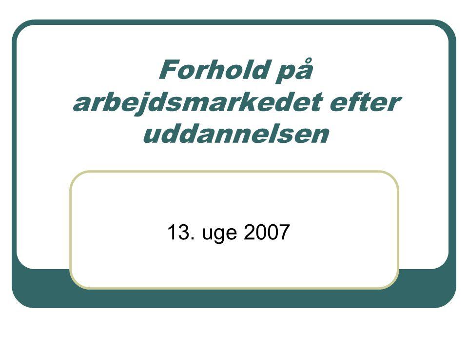 Forhold på arbejdsmarkedet efter uddannelsen 13. uge 2007