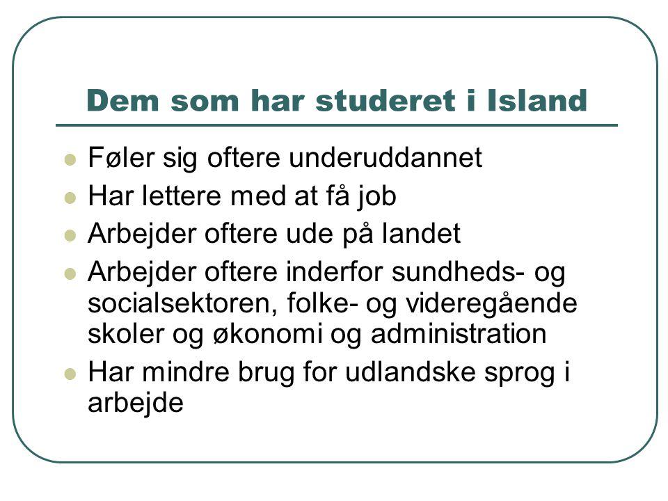 Dem som har studeret i Island  Føler sig oftere underuddannet  Har lettere med at få job  Arbejder oftere ude på landet  Arbejder oftere inderfor sundheds- og socialsektoren, folke- og videregående skoler og økonomi og administration  Har mindre brug for udlandske sprog i arbejde