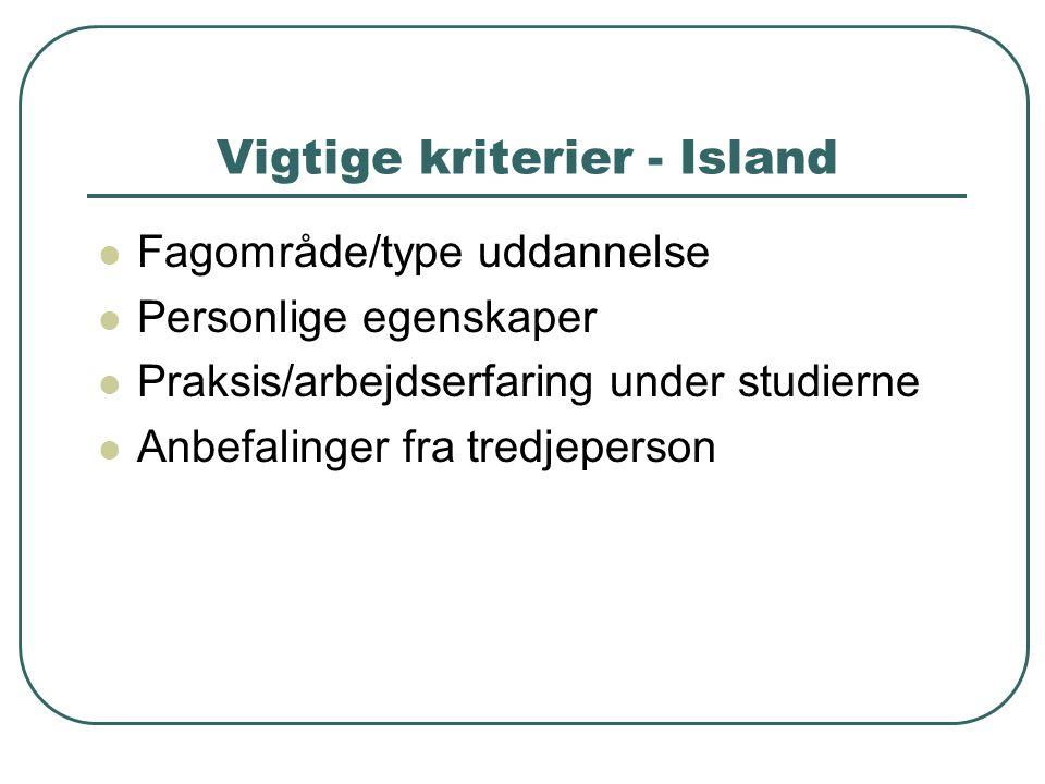 Vigtige kriterier - Island  Fagområde/type uddannelse  Personlige egenskaper  Praksis/arbejdserfaring under studierne  Anbefalinger fra tredjeperson