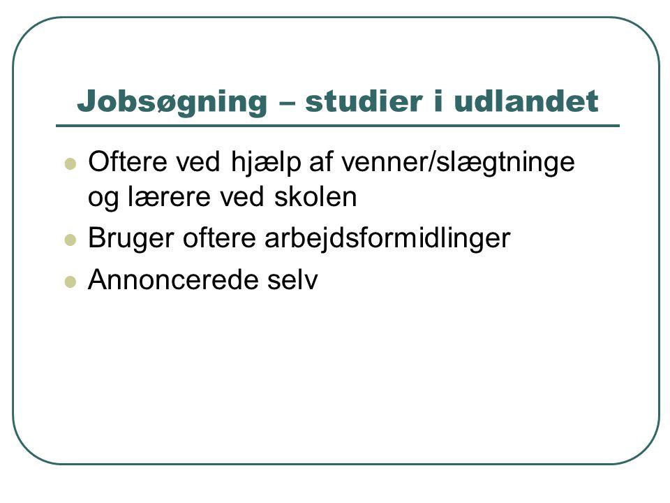 Jobsøgning – studier i udlandet  Oftere ved hjælp af venner/slægtninge og lærere ved skolen  Bruger oftere arbejdsformidlinger  Annoncerede selv
