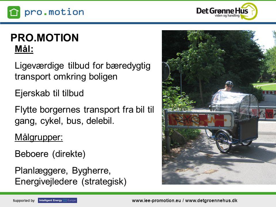 Supported by www.iee-promotion.eu / www.detgroennehus.dk PRO.MOTION Mål: Ligeværdige tilbud for bæredygtig transport omkring boligen Ejerskab til tilbud Flytte borgernes transport fra bil til gang, cykel, bus, delebil.