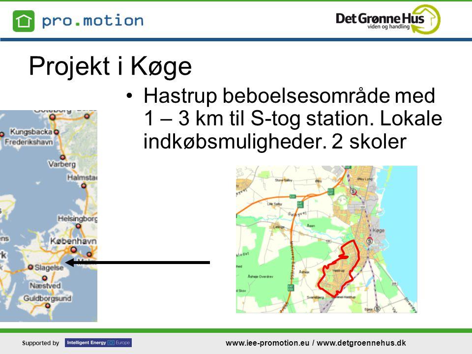 Supported by www.iee-promotion.eu / www.detgroennehus.dk Projekt i Køge •Hastrup beboelsesområde med 1 – 3 km til S-tog station.