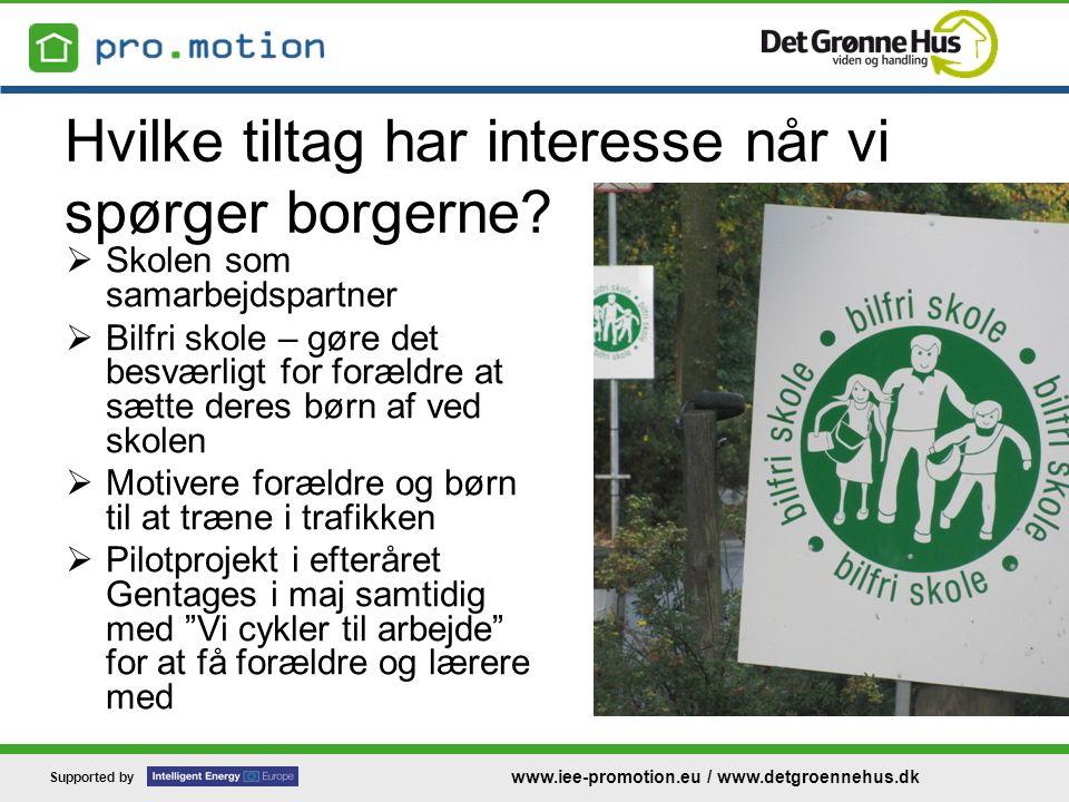 Supported by www.iee-promotion.eu / www.detgroennehus.dk Hvilke tiltag har interesse når vi spørger borgerne.