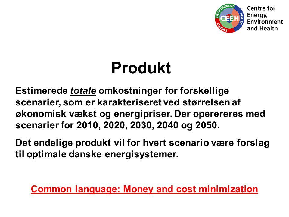 Produkt Estimerede totale omkostninger for forskellige scenarier, som er karakteriseret ved størrelsen af økonomisk vækst og energipriser.