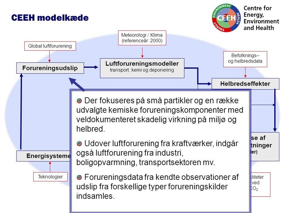 Luftforureningsmodeller transport, kemi og deponering Forureningsudslip Befolknings– og helbredsdata Meteorologi / Klima (referenceår: 2000) Helbredseffekter Værdisættelse af afledte omkostninger (eksternaliteter) Modeller for optimering af energisystemer Miljøeffekter Globale eksternaliteter Omkostninger ved udledning af CO 2 Fremtidsscenarier for Nordens energisystemer 2010, 2020, 2030, 2040, 2050 (energiproduktion, forbrug, emissioner, nettoomkostninger) Energisystemer Global luftforurening Teknologier Økonomisk vækst CEEH modelkæde Der fokuseres på små partikler og en række udvalgte kemiske forureningskomponenter med veldokumenteret skadelig virkning på miljø og helbred.