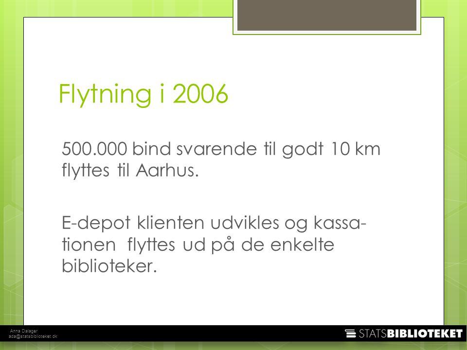 Anna Dalager ada@statsbiblioteket.dk Flytning i 2006 500.000 bind svarende til godt 10 km flyttes til Aarhus.