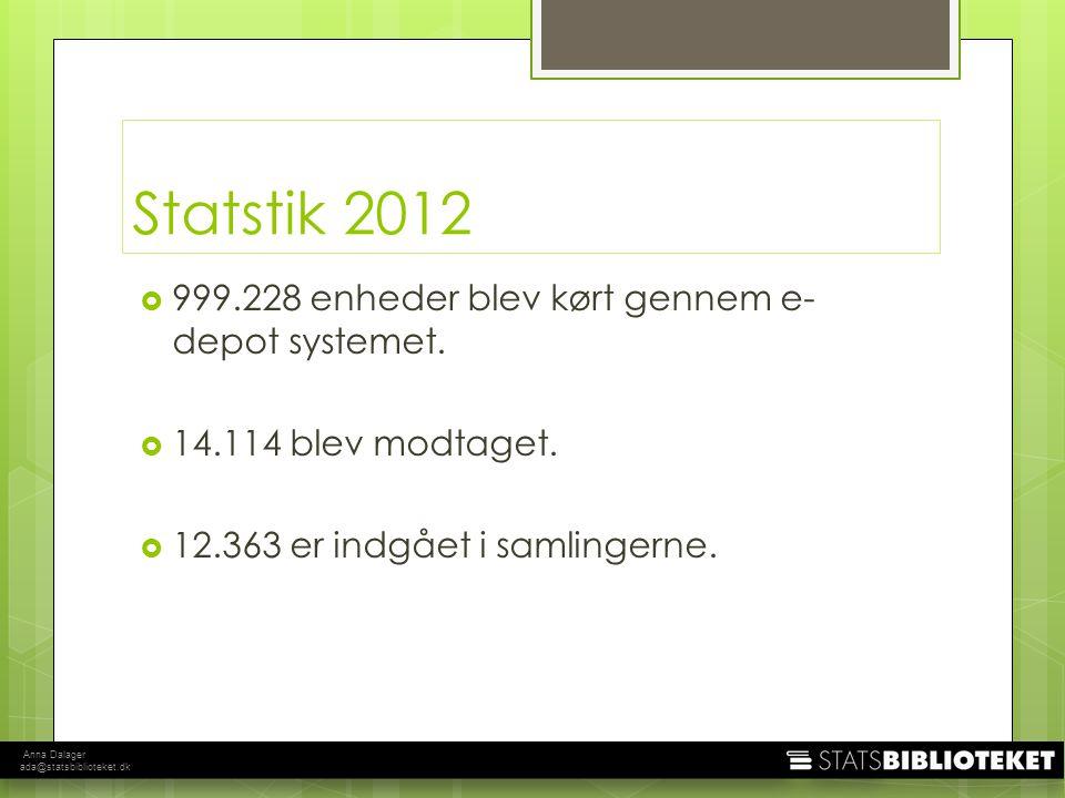 Anna Dalager ada@statsbiblioteket.dk Statstik 2012  999.228 enheder blev kørt gennem e- depot systemet.