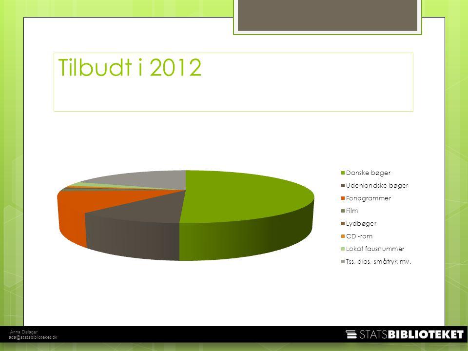 Anna Dalager ada@statsbiblioteket.dk Tilbudt i 2012