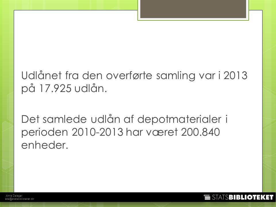 Anna Dalager ada@statsbiblioteket.dk Udlånet fra den overførte samling var i 2013 på 17.925 udlån.