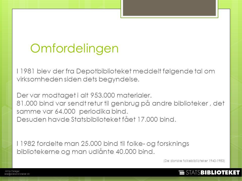 Anna Dalager ada@statsbiblioteket.dk I 1981 blev der fra Depotbiblioteket meddelt følgende tal om virksomheden siden dets begyndelse.