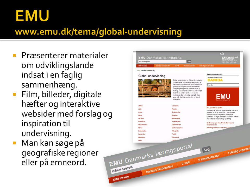  Præsenterer materialer om udviklingslande indsat i en faglig sammenhæng.