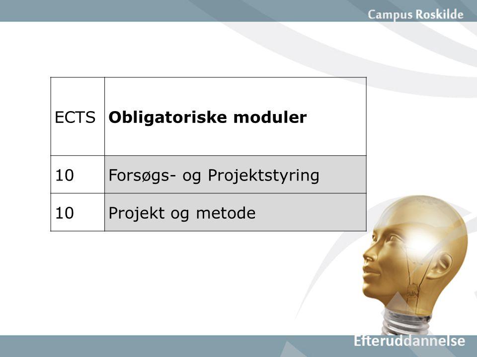 ECTSObligatoriske moduler 10Forsøgs- og Projektstyring 10Projekt og metode