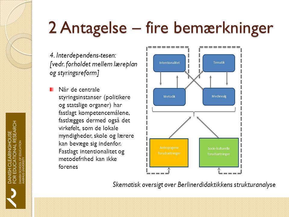 2 Antagelse – fire bemærkninger Skematisk oversigt over Berlinerdidaktikkens strukturanalyse 4.