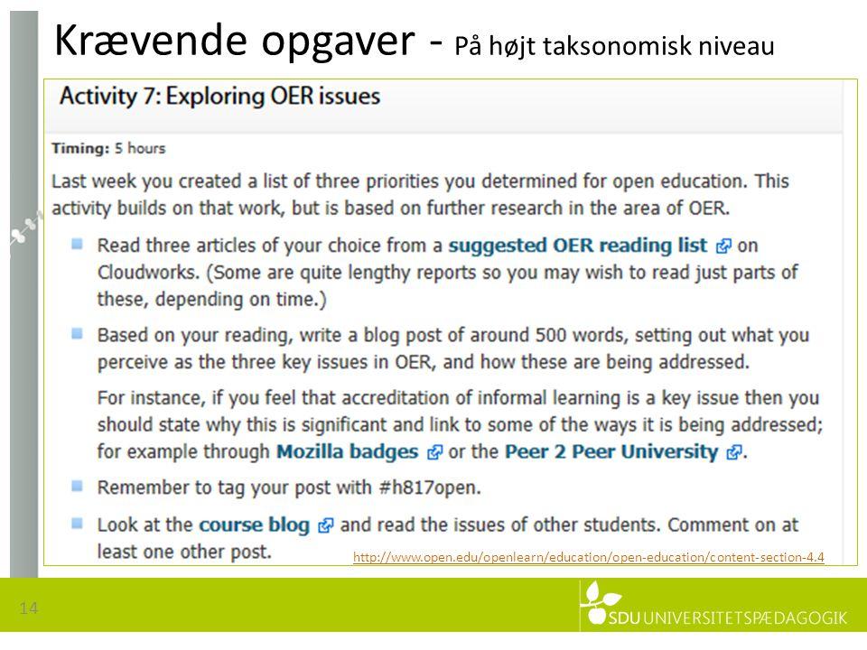 Krævende opgaver - På højt taksonomisk niveau 14 http://www.open.edu/openlearn/education/open-education/content-section-4.4