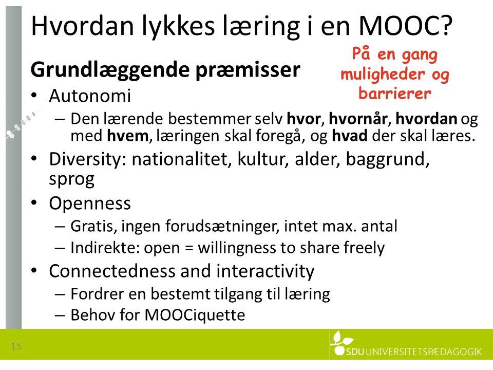 Hvordan lykkes læring i en MOOC.